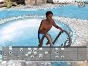 Dunkle junge im schwimmbad